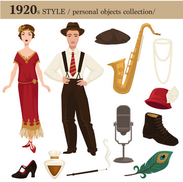1920 fashion style man and woman personal objects
