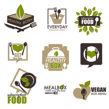 Heathy food subscription service vector box icons