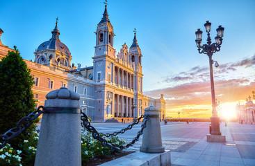 Poster de jardin Madrid Madrid, Spain. Cathedral Santa Maria la Real de Almudena