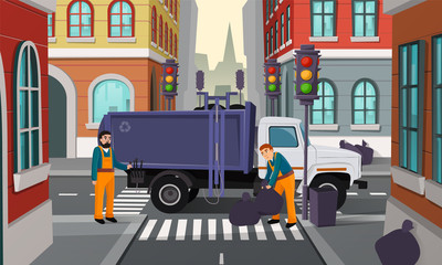 Vector cartoon illustration of city crossroad with traffic lights, garbage truck and workers pick up black rubbish bags for recycling. Service for cleaning streets and removal urban refuse