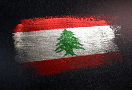 Lebanon Flag Made of Metallic Brush Paint on Grunge Dark Wall