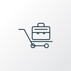 Briefcase icon line symbol. Premium quality isolated suitcase element in trendy style.