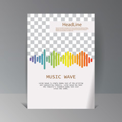 Colorful sound waves banner. Vector geometric Illustration. Isolated design symbol.