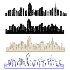 Set of vector cities silhouette. Night town on transparent background. Set of city landscapes