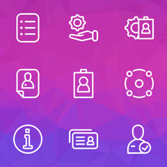 Job icons line style set with information, id, selection and other configuration  elements. Isolated vector illustration job icons.