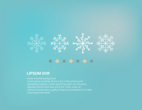 Winter background design of white snowflake with copy space Snowfall frozen poster. Color background. Vector illustration