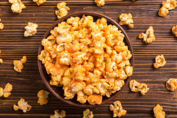 Yellow cheese popcorn in bowl