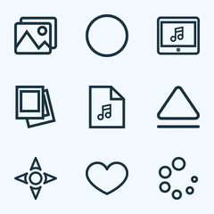Media icons line style set with picture, loading, record and other playlist