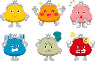 財布のキャラクター_6種類の表情とポーズ