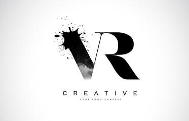 VR V R Letter Logo Design with Black Ink Watercolor Splash Spill Vector.