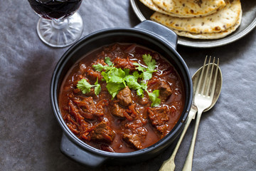 Chukhandar gosht, beetroot and beef curry