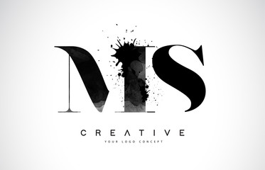 MS M S Letter Logo Design with Black Ink Watercolor Splash Spill Vector.