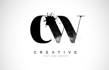 CW C W Letter Logo Design with Black Ink Watercolor Splash Spill Vector.