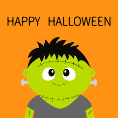 Happy Halloween. Frankenstein monster. Cute cartoon funny spooky baby character. Green head face. Greeting card. Flat design. Orange background. Isolated.