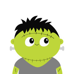 Frankenstein monster. Cute cartoon funny spooky baby character. Happy Halloween. Green head face. Greeting card. Flat design. White background. Isolated.