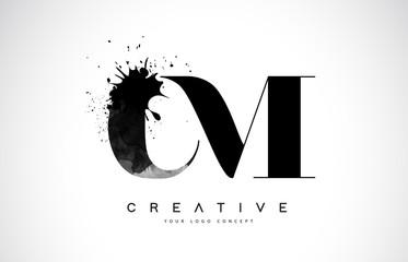 CM C M Letter Logo Design with Black Ink Watercolor Splash Spill Vector.