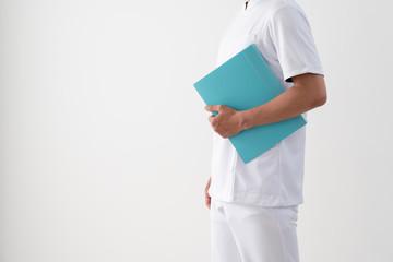 医者、看護師、ファイル、横向き