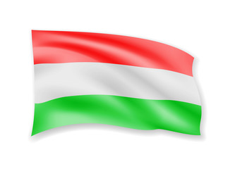 Waving Hungary flag on white. Flag in the wind.