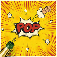 Champagne bottle with flying cork and Pop word. Vector holiday element in comic book or manga style.