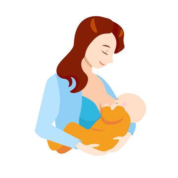 Cartoon Breastfeeding Concept Mother and Newborn Baby. Vector