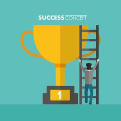 success concept winner card