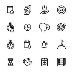 Time Management Signs Black Thin Line Icon Set. Vector