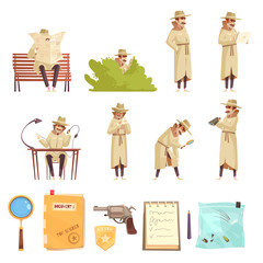 Private Detective Cartoon Icons Collection