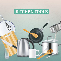 Realistic Kitchen Supplies Background