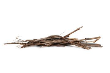 Dry branches for camp fire isolated on white background
