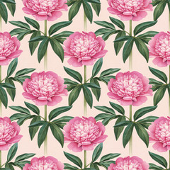 Watercolor peony flower illustrations. Seamless pattern