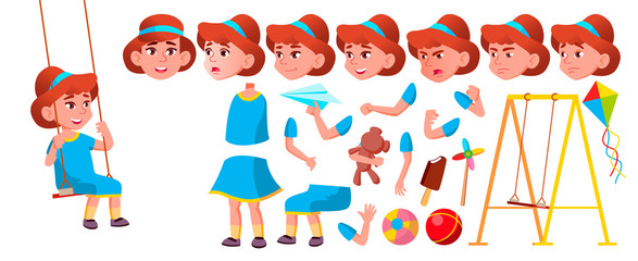 Girl Kindergarten Kid Vector. Animation Creation Set. Face Emotions, Gestures. Emotional Character Playing. Playground. For Banner, Flyer, Web Design. Animated. Isolated Cartoon Illustration