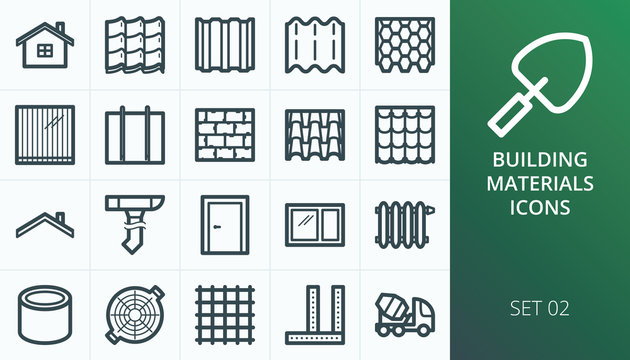 Building materials icons set. Set of home, roof, roof materials, door, window, radiator, roof drain icons