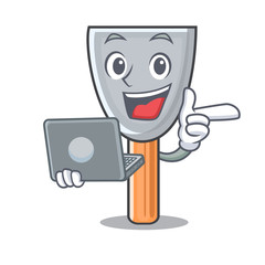 With laptop putty blade character cartoon