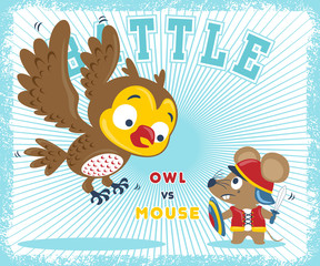 Animals cartoon battle, owl versus rat. Vector cartoon illustration