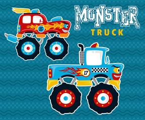 Monster truck race cartoon. Vector cartoon illustration