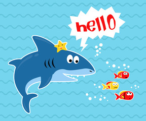 Vector illustration of big shark cartoon with little fishes.