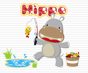 Vector illustration with baby hippo fishing