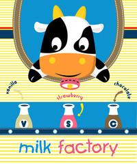 Vector cartoon of cow with milk bottles