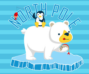 Vector illustration of polar bear cartoon with little friend
