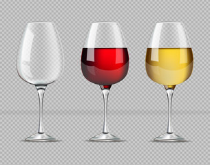 Red and white wine glasses isolated Vector realistic. Also an Empty glass template illustrations