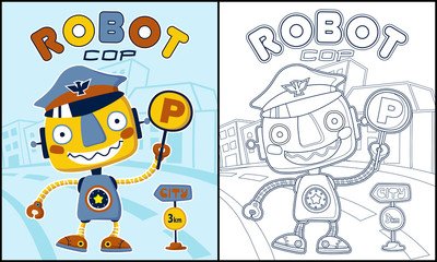 Coloring book vector with  funny robot cartoon