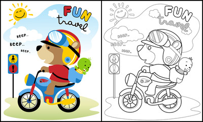 Coloring book vector with cute animals on motorbike