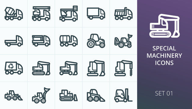 Heavy construction equipment and special machinery icon set. Set of truck, tractor, backhoe, excavator, crawler and wheel loaders, crane, dumper, bulldozer, forklift, van isolated vector icons