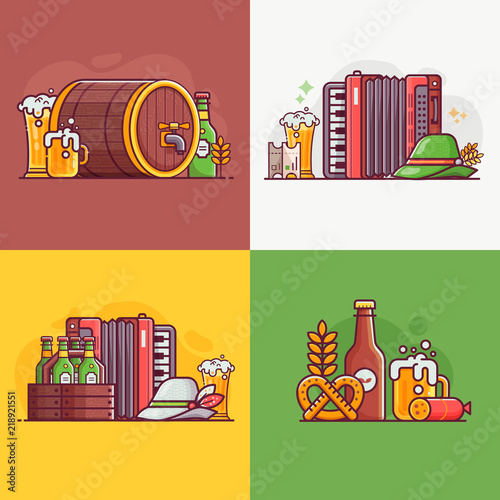 Beer Party Cards And Invitation Templates With Oktoberfest Festival Craft Brewing Traditional Symbols Icons