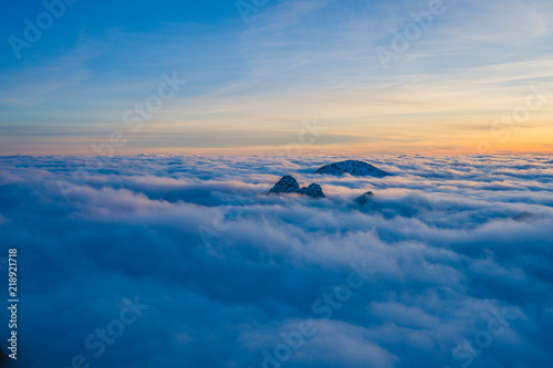 Background Photo Of Low Clouds In A Mountain Valley Vibrant