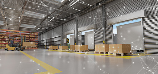 Connection over a warehouse goods stock background 3d rendering
