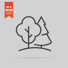 Forest icon in flat style isolated on grey background.