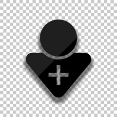 doctor, person with medical cross. Black glass icon with soft sh
