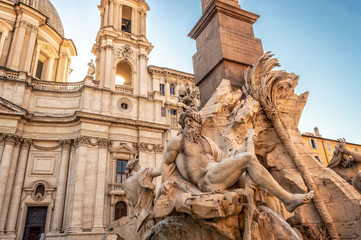 Wall Mural - Detail of the fountain of the 4 rivers (Fontana dei quattro Fiumi) on piazza Navona, Rome, Italy