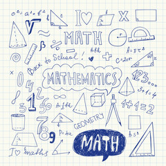 Hand Drawn Mathematical Doodle Handwriting Elements. School Education Background. Vector Illustration. Pen Drawing.
